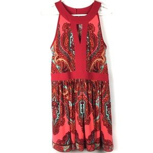 Adrianna Papell Keyhole Paisley Fit Flare Dress.